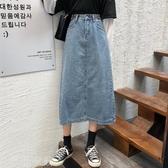牛仔長裙 胯大腿粗穿搭的裙子大碼女裝2020新款牛仔半身裙胖妹妹顯瘦中長裙 薇薇