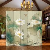 屏風中式折疊客廳隔斷實木移動酒店臥室辦公室折屏荷花雙面小戶型