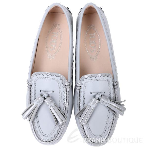 TOD'S 流蘇綴飾拼接鋸齒豆豆鞋(女鞋/灰藍色) 1740460-06