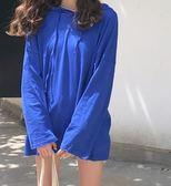 女韓版寬鬆空調衫長袖連帽T恤上衣(3色)