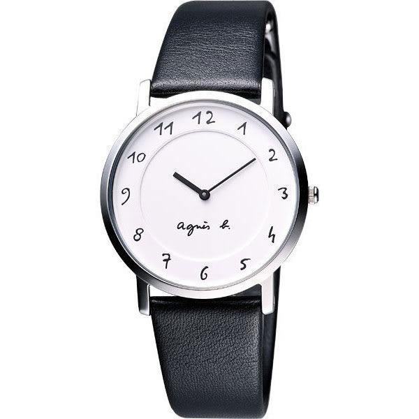agnes b. 法國時尚簡約風情腕錶-白 7N00-0BC0S(BG4001P1)