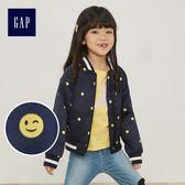 Gap女童 表情符號波點立領短款長袖夾克 442126-海軍藍色