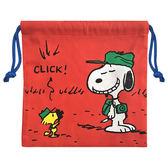 史努比束口袋收納袋棉質紅色Snoopy   該該貝比  ☆