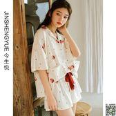 居家服 韓版清新睡衣女夏季短袖棉質夏季薄款開衫可愛家居服夏天兩件套裝M-XL