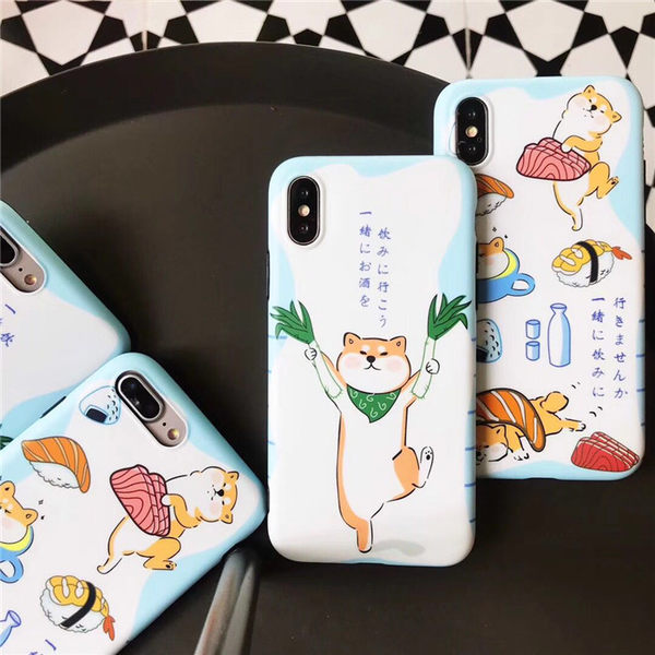 iPhoneX 可掛繩 拿蔥柴犬壽司柴犬 矽膠軟殼 蘋果iPhone8X/iPhone7/6Plus 手機殼