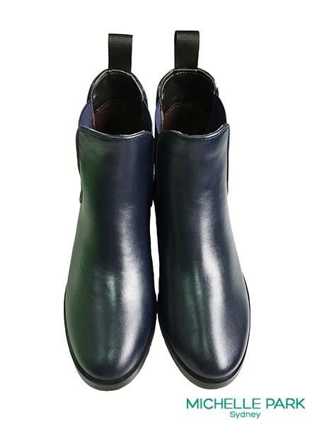 MICHELLE PARK 極簡個性鬆緊帶平底低跟防水短筒雨靴雨鞋 *藍色