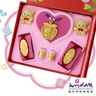 999.9黃金彌月音樂禮盒 可愛貓咪五件組0.5錢-GP00008-21-GXX-FIX