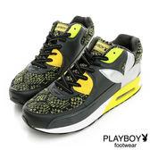 高筒-休閒鞋 PLAYBOY 異材質拼接-黃
