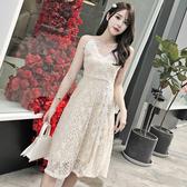 VK精品服飾 韓國風甜美露背氣質V領顯瘦蕾絲細肩帶無袖洋裝