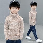男童高領毛衣男孩加絨加厚針織衫線衣套頭中大兒童潮   麻吉好貨