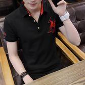 夏季新款男士短袖t恤有領polo衫青年韓版大碼體恤半袖上衣服 薔薇時尚