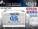 【久大電池】 GS 統力 汽車電瓶 加水式 57539 DIN70 75AH 歐洲車 汽車電池