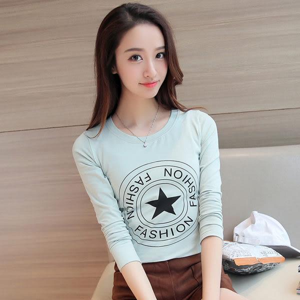 【TU02】長袖t恤 中大尺碼字母幾何簡約修身t恤女