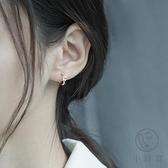 純銀耳釘耳環女冷淡風簡約圓圈耳扣百搭氣質耳飾【小酒窝服饰】