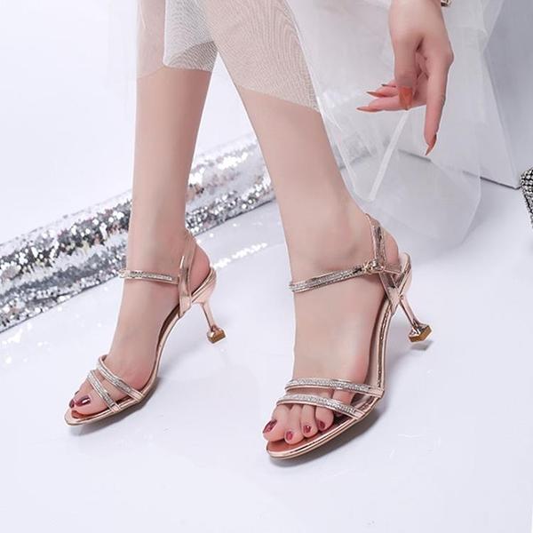 高跟鞋 水鑚涼鞋女仙女風夏季中跟露趾一字扣帶高跟鞋細跟小碼-Ballet朵朵