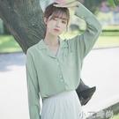 帛卡琪2020新款春秋翻領襯衫長袖純色上衣設計感口袋學生襯衣女 小艾新品