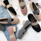 單鞋豆豆毛毛鞋女冬加絨外穿復古粗跟歐洲站瑪麗珍鞋   琉璃美衣