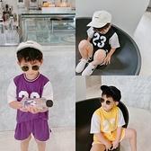 瞇瞇眼兒童籃球服套裝2020夏季新款男童兩件套韓版假兩件T恤短袖 幸福第一站