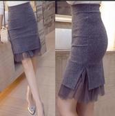 網紗半身裙 秋冬款毛呢包臀裙半身裙秋網紗蕾絲包裙大碼短裙女修身顯瘦一步裙