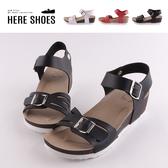 [Here Shoes]涼拖鞋-MIT台灣製 可調整扣環造型 純色皮質鞋面 楔型一字涼鞋-AND1041