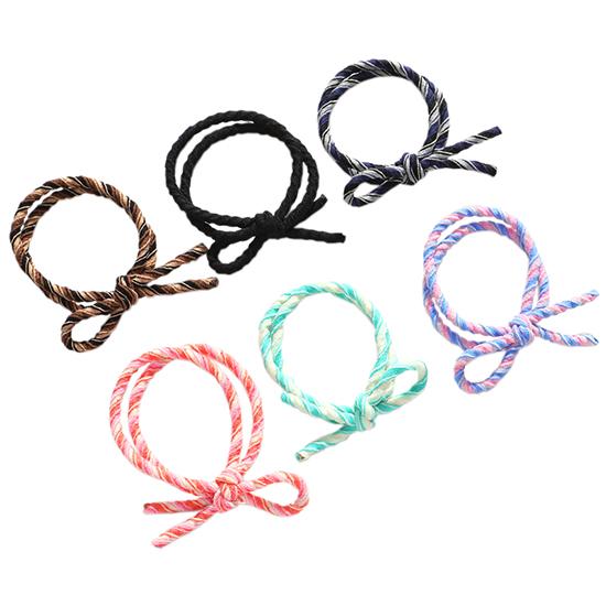 彈性髮圈 多色 髮繩 綁頭髮 紮頭髮 飾品 批發 女孩 韓版 撞色打結髮圈(1入)【Z223】米菈生活館