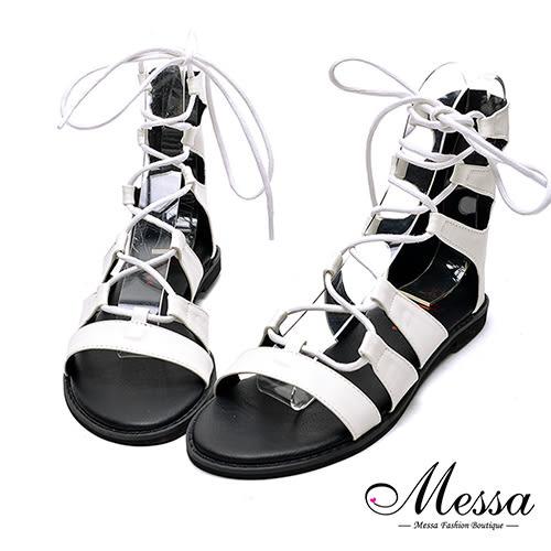 【Messa米莎專櫃女鞋】MIT羅馬繩縛造型休閒涼鞋-白色