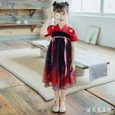 女童漢服 2019新款童裝漢元素改良女孩公主兒童夏季洋裝 BT6450『寶貝兒童裝』