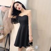 秋季短裙女新款甜美時尚氣質圓領透視長袖露肩釘珠顯瘦洋裝