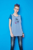 【 BETTY BOOP 】貝蒂夏日↘特價~ 假兩件棉布搭雪紡背心貝蒂印圖上衣(只剩藍色) NO.BS16241