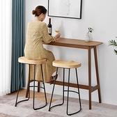 吧台桌 吧台桌實木高腳桌子家用吧台圓桌創意簡約吧台組合靠墻長條酒吧台 MKS 卡洛琳