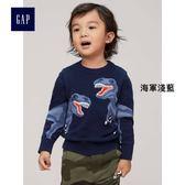 Gap男嬰幼童 妙趣圖案圓領長袖針織衫 363623-海軍淺藍
