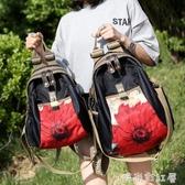 時尚印花女包新款牛津布雙肩包民族風布藝潮流休閒大容量旅行背包「時尚彩紅屋」