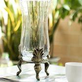 玻璃花瓶-三腳鐵藝美式風格藝術品居家擺件72ah24[時尚巴黎]