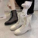涼靴子女網紅夏季透氣系帶長靴2020新款系帶網靴鏤空短靴短筒涼鞋 快速出貨