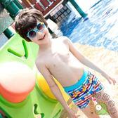 兒童泳褲男童寶寶泳衣平角速幹溫泉嬰兒卡通條紋小汽車游泳褲