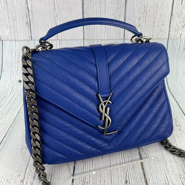 BRAND楓月 Saint Laurent YSL 聖羅蘭 392737 寶藍色 深藍牛皮 學院包 中款 肩背包