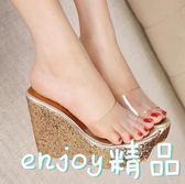 【618好康又一發】女高跟涼鞋 百搭亮片厚底坡跟鞋魚嘴鞋