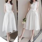 洋裝 婚禮小禮服 無袖蕾絲中長款蕾絲連身裙女 過膝無袖小香風白色裙子夏9066H325紅粉佳人