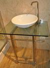 【麗室衛浴】碗公形檯面盆43CM +TAP高龍頭+玻璃檯面+造型白鐵架