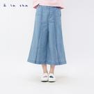 a la sha+a 率性造型打摺條紋牛仔寬褲