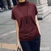 中大尺碼T恤 2019夏裝新款蝙蝠袖女半高領短袖韓版寬鬆百搭胖mm上衣 FR7546『俏美人大尺碼』