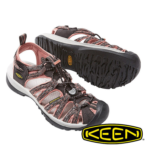 【KEEN 美國】Whisper 女輕量護趾水陸兩用鞋『深灰/印花』1016244 健行|涼鞋|自行車|溯溪|健走