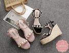 楔型涼鞋 度假風珍珠滾邊蘿莉風 厚底涼鞋 大尺碼35-40*Kwoomi-A41