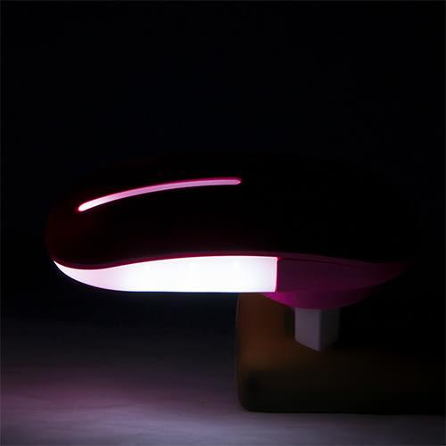 LIKA夢 捷銳 jierui 光控感應式省電節能臥室、床頭LED小夜燈 壁燈 滑鼠造型系列 粉紅 D5JI-A66P