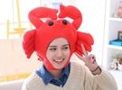 【單一款】螃蟹造型頭帽 變裝帽 拍照裝飾品 聖誕節交換禮物 尾牙春酒派對表演 搞怪道具