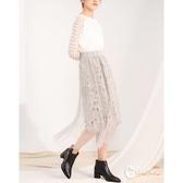 CANTWO花朵緹織蕾絲網紗壓褶長裙-二色-灰色