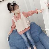 女童洋氣襯衫套裝秋裝新款韓版女孩長袖上衣春秋兒童時尚童裝「爆米花」