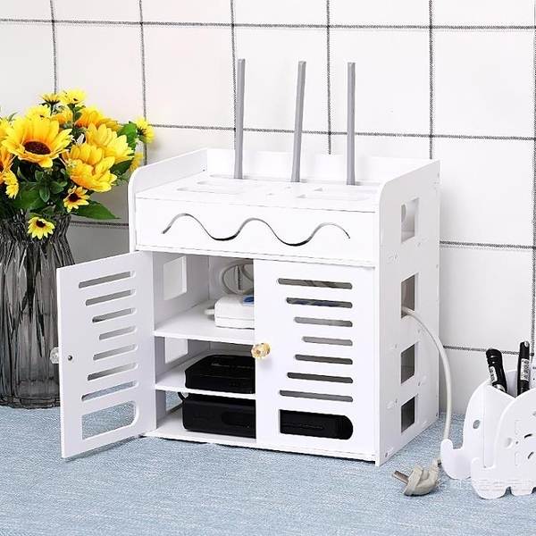 路由器收納盒電線插座貓機頂盒置物架集線理線盒子壁掛免打孔【快速出貨】