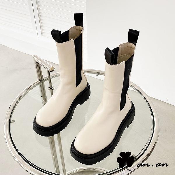 中筒靴 酷女出街厚底切爾西中筒靴(米)* an.an【18-C307-3mi】【現貨】