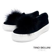Tino Bellini雲朵般飄逸毛球全真皮懶人鞋_黑 TF8569